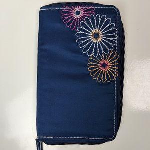 TRAVELON Navy Daisy Travel RFID Passport Wallet